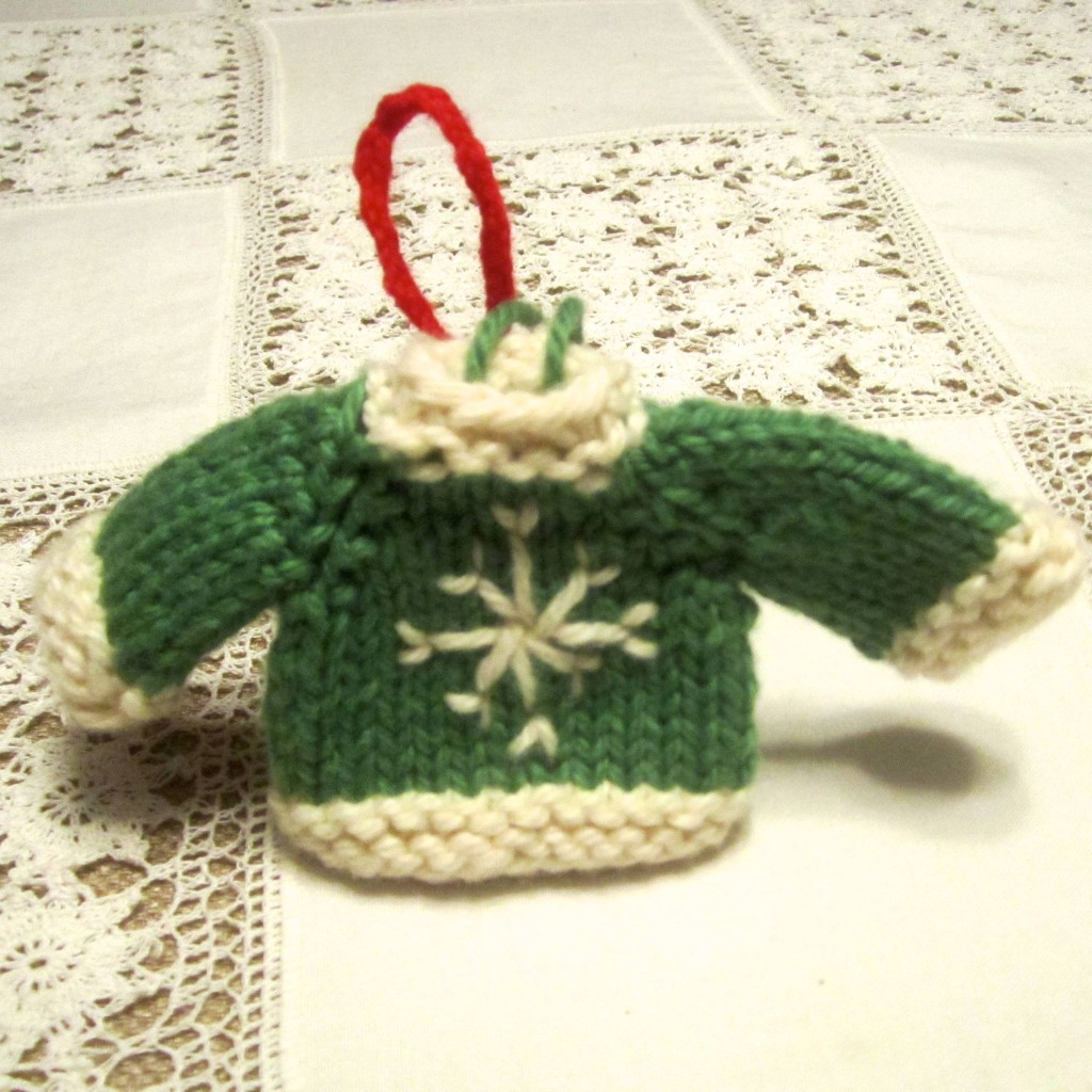 One of the first sweater ornaments I knitted.