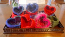 Felted Heart Bowls
