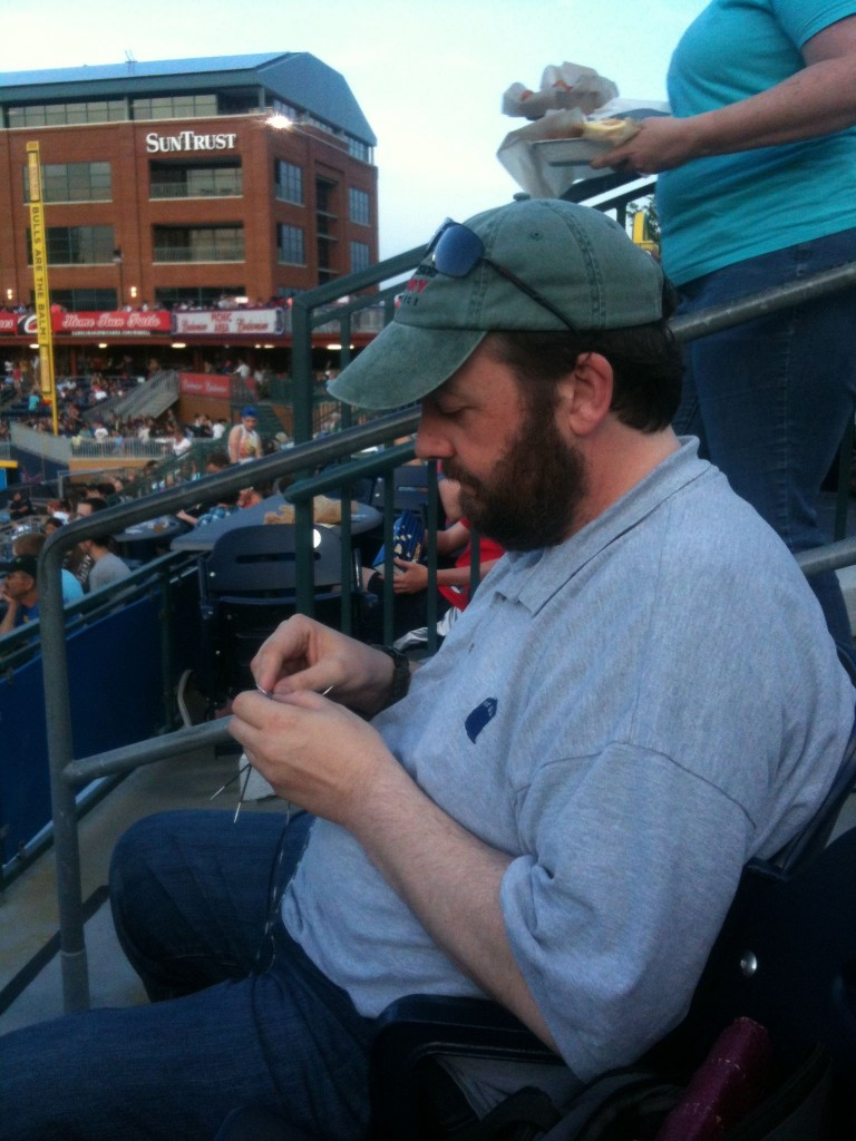 Knitting At The Stitch N' Pitch