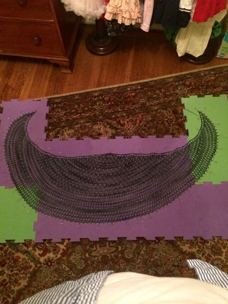 Blocking The Pebble Beach Shawlette